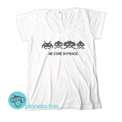 Remera Space Invaders We Come In Peace - Remeras geeks y juegos