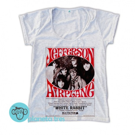 Remera Jefferson Airplane Poster White Rabbit - Remeras Rock Psicodélico Mujeres