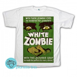 Remera White Zombie Película Póster Ojos - Remera de películas de terror clásico - Remeras de cine unisex, hombres y mujeres.