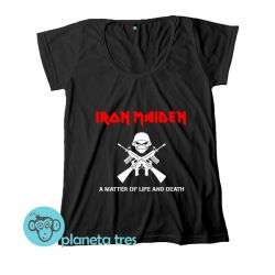 Remera Iron Maiden A Matter Of Life And Death - Remeras de rock. En talles y modelos para mujeres y hombres.